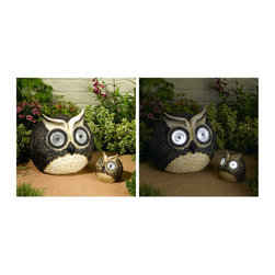 STI - Smart Solar Inc. - Solar Owl Accent Set - Whisical set of Owls make a great garden art by day and illuminates by night. Each Owl has two bright white LED's which illuminate automatically at dusk. Charges by day using discreet solar panel in the back of each owl. Large Owl measures 12 inch diamete