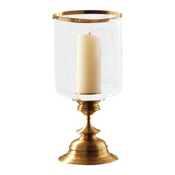 Estate Hurricane - Antique Brass - 23.25 x 11.25 - A piece of impressive gravitas, the Estate Hurricane in Antique Brass brings grandeur inspired by vintage stemware to the overscale, perfectly-detailed form of a hurricane lantern.  Pair with nautical or vintage accents for a story-rich appearance, or stand with greenery or flowers so their organic lines emphasize the turned details of the polished brass base.