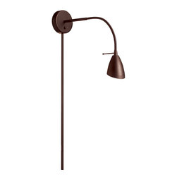 Dainolite - Wall Mounted Reading Lamp - Wall Mounted Reading Lamp is available in Oil Brushed Bronze or a Satin Chrome finish. One 50 watt, 120 volt MR16 GU10 base Halogen lamp is required, but not included.  5 inch height x 20 inch depth.  On/Off toggle switch with an adjustable gooseneck arm.