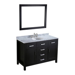 Bosconi - 49'' Bosconi SB-252-6 Vanity Set - Bathing beauty. There's no contest here. This is one of the most striking vanities around. The black base and white Carrara marble top are complemented by minimalist design and silver-finished hardware for an easy on the eyes addition to your bath decor.