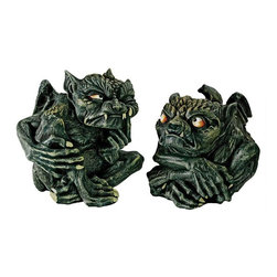 EttansPalace - Skpikey Fanged Gothic Troll Office Statue: Set of 2 - With impish grimaces and mischievous stares this pair of gargoyle-like trolls is probably up to no good! Sculpted with comically grotesque extra long limbs, spiked fangs and pointy ears, they are cast in quality designer resin to replicate the Old Norse creatures of rich Scandinavian folklore. This loveable handful will add a little mischief along a bookshelf or staring down the office clock on your desk.