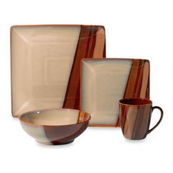 Sango - Sango Avanti Brown 16-Piece Dinnerware Set - This modern dinnerware comes alive on your table with square and round shapes highlighting inviting earth tones. The stoneware pieces are enhanced with a gorgeous hand-brushed reactive glaze that gives each piece a striking presence on your table.