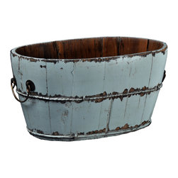 Antique Revival - Aqua Vintage Ming Sink - This vintage wooden sink and carrier bucket is the perfect rustic piece for any kitchen or patio. You can use it for storage, or display it as an accent piece. The iron handles and distressed, vibrant aqua finish add a rustic, country vibe to any room.