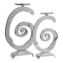 Grandin Road - Set of Two Gallery Swirl Candleholders - Graduated pair of sculpted spiral candleholders. Handcrafted from 100% aluminum. Each shines with a chrome-like finish and picks up the glow of the candles. Graduated heights and an integrated tiered base add interest to the pair. Use with our Flameless Candles (sold separately). Illuminate your mantel or tabletop with a pair of graduated, silver-toned Gallery Swirl candleholders - they're playful and contemporary and they'll make a splash wherever you display them. Each metallic spiral is crafted from aluminum with a polished chrome finish that's sure to add flash and whimsy to your tableau. Top them with a pair of pillar candles (not included) - the mirror-like finish is sure to get things glowing.  .  .  .  .  .