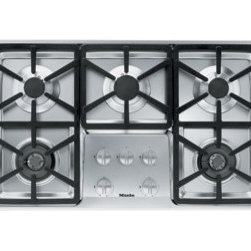 "Miele 36"" Hexa Design Cooktop - Five sealed burners under a six prong grate, which gives the design its name, create the Miele Hexa cooktop. The gas range is Energy Star rated."