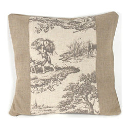 Kathy Kuo Home - French Country Burlap Gray Toile Square Toss Pillow - Too much toile pattern can overwhelm a room, but this accent pillow solves the problem beautifully. This soft burlap pillow frames a pane of timeless toile in a neutral, soothing tone, melding into your country cottage living room, or providing a pastoral contrast to your more modern or industrial decor.