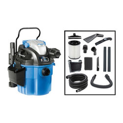 Vacmaster - Vacmaster Wall-Mount Wet/Dry Shop Vacuum - 132503 - Shop for Vacuums from Hayneedle.com! Nothing escapes the Vacmaster Wall-Mount Wet/Dry Shop Vacuum. This heavy-duty cleaner features a wall-mounted design with handle for easy detachment and carrying from place to place. Whether you're cleaning from the station or mobile this dry/wet vac's 5 HP dual-turbo 2-stage motor gives you the power you need to handle the toughest jobs. It also comes with a 20-foot power cord with wrap a full range of attachments and accessories 21-feet of hose for maximum reach and it operates quietly on both suction and blower functions.Additional FeaturesUltra-quiet operation with both suction and blower functions5 HP dual-turbo 2-stage motor delivers maximum power efficientlyHandle-mounted on/off and suction control functionsA total of 21 feet of hose included for maximum reachGreat for cleaning the interior of automobiles inside or outside the garageDust-sealed on/off switch and easy carry handleFull range of attachments and accessories included20-foot power cord with cord wrapManufacturer's warranty includedAbout VacmasterVacmaster vacuums are made by the Cleva Electric Company a specialist in the areas of wet/dry vacuum cleaners accessories and outdoor lawn equipment. Backed by over 15 years of industry experience Vacmaster products are made to offer the home consumer the latest in engineering and efficiency. With products of all sizes and functions - from compact portable wet-dry vacs to dual-function vacuums and leafblowers - there is a Vacmaster available that will get your job done. In their own words For every mess there's a master.