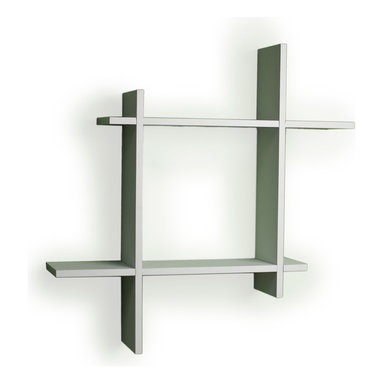 "Danya B - Asymmetric Laminate Square Floating Wall Shelf, White - Decorative wall shelf shows 4 asymmetric sides to a square which intersect and connect with each other. With its contemporary finish, it is the ideal accent for any living space. Made of laminated MDF, it attaches to the wall with two keyhole perforations in the back, which secure to nails or screws showing no visible hardware.  Color: Black or White.  Minor assembly required.  Measures 24 x 5 x 24"".  Weight capacity: 16lbs.  Made in China."