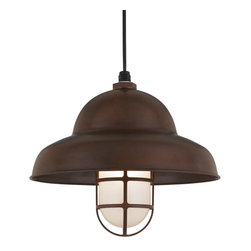 """THE PETROL CORD-HUNG CEILING LIGHT - 16"""" Petrol shown in 77-Rosewood Finish with LCGU-FR Accessory & BLO-CB8 Mounting"""