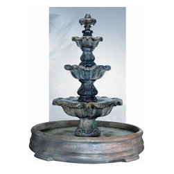 Three-Tier Renaissance Fountain in Grando Pool, Natural - Add flair and sophistication to your outdoor garden with the lovely Three-Tier Renaissance Fountain in Grando Pool. This one of a kind fountain has all the perfect qualities you're looking for to impress your friends and create an ambiance of peace for your family. It's made of very refined cast stone material and will last for a lifetime.