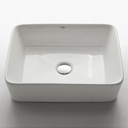 Kraus - Kraus White Rectangular Ceramic Vessel Sink - Give your bathroom an updated, modern look with this stylish rectangular Kraus vessel sink. This sink includes a chrome pop-up drain and has a non-porous surface to prevent fading and discoloration. The sink has an elegant ceramic finish.