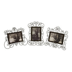 "Imax Worldwide Home - Wire Picture Frames - Set of 3 - Victorian metal wire picture frames; Country of Origin: China; Weight: 2.09 lbs; Dimensions: 11-9.5-8.5""h x 7.25-10-9.75""w"
