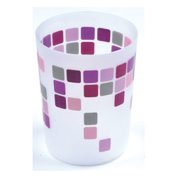Printed Trash Can Mosaic Parma 3-Liter/0.8-Gal - This printed trash can Mosaic for bathrooms is in polypropylene. It is opaque with colored square patterns. This trash can is a lovely accent for any bathroom with an open top, its capacity is 3-Liter/0.8-Gal. Diameter of 7.68-Inch and height of 9.45-Inch. Wipe clean with a damp cloth. Color pink and Parma. Add a fun and modern style to your bathroom decor with this lovely trash can. It's almost too pretty to toss trash into this waste bin! Complete your Mosaic decoration with other products of the same collection. Imported.