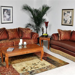 Chelsea Home - Benchmark Upholstry Royal Sofa w Chaise - Coffee table not included. Frames are corner blocked. Seat support is maintained with super-loop solid steel no-sag seat springs. On average 14 springs per sofa, 9 springs per loveseat and 5 springs per chair. Seat cushions are designed to be supportive and comfortable. High density 1.8 foam cores. Cushion cores are dacron wrapped for extra softness. Pillow backs are filled with spun and blown super soft hollow fill fiber. All pieces are bench built for better tailoring and consistency in quality. Warranty: One year limited against manufacturer defect, does not cover abuse, stains or normal wear and tear. Made from solid oak and select hardwoods. Made in USA. Sofa: 96 in. W x 44 in. D x 33 in. H (132 lbs.). Chaise: 64 in. W x 37 in. D x 34 in. H (90 lbs.)