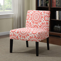 PORTFOLIO - Portfolio Niles Pink Coral Medallion Armless Accent Chair - The Portfolio Niles armless chair features a gently tapered back and deep seat cushion for extraordinary comfort. The Niles chair is a small scale chair offering generous seating comfort and is covered in a medallion pattern fabric.
