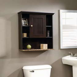 Sauder - Sauder Bath Peppercorn Collection Wall Cabinet Multicolor - 414059 - Shop for Bathroom Cabinets from Hayneedle.com! The Sauder Bath Peppercorn Collection Wall Cabinet is as good looking as it is practical. With two adjustable open shelves you'll have four cubbyholes to choose from for organization and decoration and that's not even all the options available! There's also an open shelf at the base and an adjustable shelf behind the frame and panel door. This handsome storage solution features quality construction made up of rugged MDF and faux granite that's protected by a clear EverSheen top-coat that defends against heat stains and scratches. This cinnamon cherry furnishing has a bold style that's sure to make a statement in your bathroom and the luxurious look is accented all the more by a hint of faux cascade granite. Order this easily mounted affordable bathroom cabinet the perfect marriage of form and function.About Sauder Woodworking Co.Sauder Woodworking Co. is North America's leading producer of ready-to-assemble (RTA) furniture and the nation's fifth largest residential furniture manufacturer. Based in Archbold Ohio Sauder also sources furniture from a network of quality global partners including a line of office chairs that complement its residential and light commercial office furniture. Sauder markets more than 30 distinct furniture collections in a full line of RTA furnishings for the home entertainment home office bedroom kitchen and storage. Sauder is a privately held third-generation family-run business. The company prides itself on its awareness that all function and no fashion makes for a dull living space when it comes to home furnishing products. That's why Sauder's award-winning design team has produced more than 25 collections of stylish furniture that span the design spectrum. From minimalist modern or contemporary to classic 18th century or country styles Sauder has what you're looking for. The company offers more than 500 items - most priced below $500 - that have won national design awards and generated thousands of letters of gratitude from satisfied consumers.