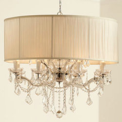 """Shaded """"Cascade"""" Chandelier - Large shaded chandelier with glass arms and metal frame with polished chrome finish is hung with beaded swags and drops of hand-cut crystals from Europe."""