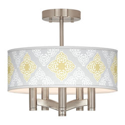 """Giclee Glow - Country - Cottage Aster Grey Ava 5-Light Nickel Ceiling Light - Sleek and elegant this beautiful ceiling light will make your home glow with style. A brushed nickel finish complements the clean lines while five lights make this fixture a delightfully bright and versatile choice for any style of home decor. This stylish fixture is custom made to order and features a beautiful Aster Grey pattern giclee-printed onto the drum shade. U.S. Patent # 7347593. Brushed nickel finish. Aster Grey pattern printed shade. Semi-flushmount design. Five 60 watt candelabra bulbs (not included). 14"""" wide. 13 1/2"""" high. Shade only is 14"""" wide 5"""" high. Canopy is 5"""" wide.  Brushed nickel finish.  Aster Grey pattern printed shade.  Semi-flushmount design.  Five 60 watt candelabra bulbs (not included).  14"""" wide.   13 1/2"""" high.   Shade only is 14"""" wide 5"""" high.   Canopy is 5"""" wide."""