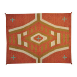 Hand Woven Rust Red 9'x12' Flat Weave Navajo Design 100% Wool Rug SH16779 - Soumaks & Kilims are prominent Flat Woven Rugs.  Flat Woven Rugs are made by weaving wool onto a foundation of cotton warps on the loom.  The unique trait about these thin rugs is that they're reversible.  Pillows and Blankets can be made from Soumas & Kilims.