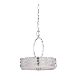 Nuvo - 3 Light - Pendant - Slate Gray Fabric Shade - Slate Gray Fabric Shade Shade. UL Dry Rated. Incandescent . Color/Finish: Polished  Nickel. Max wattage: 60w. Bulb(s) not included. 17.75 in. W x 20.375 in. H