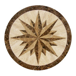 "Floor Medallions Online - 36"" Waterjet Medallion - Essex - The Essex waterjet medallion is constructed of Turkish Travertine and Italian Marble, possesses an eye-catching, strong, masculine compass motif. With the Essex, you can be assured your medallion will command the attention of the room!"