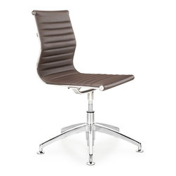 AG Conference Chair, Espresso - AG conference chair is an example of perfect design. It is made from a high tech chrome plated steel frame, and PU leather seat. The chair swivels for easy entry and exit. AG conference chair is an excellent addition to your home, office or conference room.