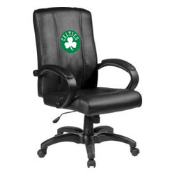 Dreamseat Inc. - Boston Celtics NBA Alt Logo Home Office Chair - Check out this Awesome - it's one of the coolest things we've ever seen. Features a zip-in-zip-out logo panel embroidered with 70,000 stitches. Converts from a solid color to custom-logo furniture in seconds - perfect for a shared or multi-purpose room. Root for several teams? Simply swap the panels out when the seasons change. This is a true statement piece that is perfect for your Man Cave or Home Office, and it's a must-have for the person who wants to personalize their work space.