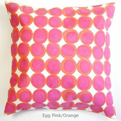 "See Design - Filled Pillow, Egg Grey/Seaglass - Just like our See Design pillow covers, only better - they're already filled! Add color to any room in the home with these colorful hand-painted design by Donna Gorman. They are made of 100% cotton canvas on the outside and polyester filled. They have a zipper closure in back for easy access and cleaning. They measure 20"" x 20""."