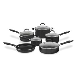 "Cuisinart - Advantage 11-Piece Non-Stick Aluminum Cookware Set - With the Cuisinart 55-11 Advantage Non-Stick Aluminum 11-piece Cookware Set you can prepare virtually anything. An elegant black metallic exterior that complements any kitchen decor lets cooks simmer, saute, fry, boil and braise in style. The pure aluminum core provides quick and even heat while the premium nonstick surface provides lasting food release and easy cleanup. This set gives you fantastic results with dishwasher safe convenience. Features: -11 Piece aluminum non-stick cookware set.-Pure aluminum core heats quickly and cooks at an even temperature, eliminating hot spots.-Tempered glass covers allow you to view results while cooking.-Resilience non-stick interior provides lasting food release, healthy cooking and easy cleaning.-Easy-Grip riveted, silicone handles are designed to provide a secure, comfortable grip and stay cool on the stovetop.-Tight fitting lids seal in flavors and nutrients.-Oven safe to 350°F.-Freezer safe for easy food storage.-Dishwasher safe.-1 Qt. Saucepan w/cover - 5"" H x 7"" W x 14"" D.-2 Qt. Saucepan w/cover - 6.75"" H x 8.5"" W x 15"" D.-3 Qt. Saucepan w/cover - 7.5"" H x 8.5"" W x 15"" D.-3 Qt. Saute Pan w/cover - 4"" H x 11"" W x 19"" D.-6 Qt. Sauce Pot w/cover - 10"" H x 6"" W x 8"" D.-10 In. Open Skillet - 3.5"" H x 10.5"" W x 16.87"" D.-Set Includes: 10 Inch open skillet, 3 saucepans with covers, 3 Quart saute pan with cover, 6 Quart sauce pot with cover, manual.-Distressed: No.Dimensions: -Overall Product Weight: 15.65 lbs.Warranty: -Lifetime Warranty."
