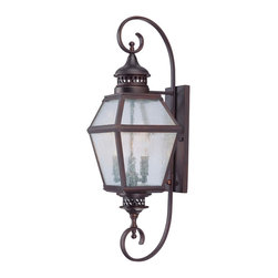 "Savoy House - Savoy House 5-773-13 Chiminea 8"" Steel Wall Mount Lantern - A New Orleans inspired outdoor style that is destined to become a bestseller, crafted to mimic the appearance of an antique gas lantern. The English Bronze finish and pale cream seeded glass add to the family?s tremendous value."
