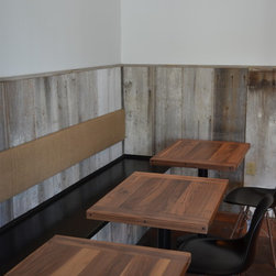 Gray and White Barn Wood Wainscoting - The barn wood for this rustic wainscoting was provided by Reclaimed DesignWorks.