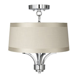 """Lamps Plus - Traditional Fortuna Chrome 16"""" Wide Off-White Drum Ceiling Light - The Fortuna semi-flushmount ceiling light comes in a chic chrome finish and has four candelabra style lights. The design offers the classic look of a chandelier and is updated with a stylish designer off-white drum shade with gosgrain ribbon trim. A wonderfully refreshing designer look for your living space.  Chrome finish. Off-white drum shade with gosgrain ribbon trim. Semi-flushmount ceiling light. Takes four 40 watt candelabra bulbs (not included). 15"""" high. Chandelier only is 13"""" wide 9"""" high. Shade is 15"""" across the top 16"""" across the bottom 7"""" high. Canopy is 5 1/2"""" wide. Some assembly required; instructions included.  Chrome finish.  Off-white drum shade with gosgrain ribbon trim.  Semi-flushmount ceiling light.  Takes four 40 watt candelabra bulbs (not included).  15"""" high.  Fixture only is 13"""" wide 9"""" high.  Shade is 15"""" across the top 16"""" across the bottom 7"""" high.  Canopy is 5 1/2"""" wide.  Some assembly required; instructions included."""