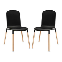 Modway - Stack Wood Dining Chairs Set of 2 EEI-1372, Black - Acquaint yourself with an intelligent piece concealed behind sheer simplicity. Stack exhibits fluid lines and an organic form in a seamless transition from the abstract to the definite. Made from a painted durable steel top and solid beech wood legs, Stack coalesces both form and purpose in a harmoniously designed piece that matches well in any uncomplicated decor.