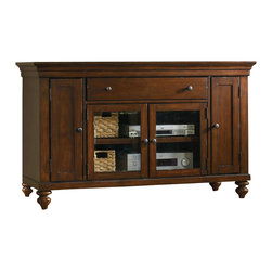 "Hooker Furniture - Wendover 56"" Entertainment Console - White glove, in-home delivery included!  The Wendover Collection is crafted from poplar solid and cherry veneers.  It features a light physical distressing.  Two outside doors with two adjustable shelves behind each, two wood-framed beveled glass doors with one adjustable shelf behind, one drawer, one three plug outlet.  Accommodates most 55"" televisions.  Center opening: 30 3/4"" w x 18 1/2"" d x 18"" h  Drawer: 28 3/4"" w x 15 1/2"" d x 4 1/4"" h  Floor to bottom of case: 4 1/2"" h  Side cabinets: 8"" w x 18 1/2"" d x 24 1/4"" h"