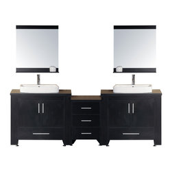"""Design Element - Washington 92"""" Double Sink Vanity Set in Espresso - The Washington 92"""" double-sink vanity in espresso is stylishly constructed of solid plywood panels with veneer laminate. The stylish white rectangular sinks and sleek espresso cabinetry bring style and utility to any bathroom. This vanity includes soft-closing cabinet doors and five pullout drawers all adorned with satin nickel hardware. The sides of the vanity feature a removable towel bar and shelving for additional storage and utility. Two matching mirrors with shelves are included. The Washington Bathroom Vanity is designed as centerpiece to awe and inspire the eye without sacrificing quality functionality or durability."""