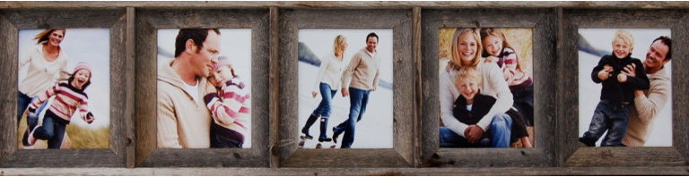 MyBarnwoodFrames - Collage Picture Frame 8x10 With 5 Openings, Barnwood - A  collage  picture  frame  is  the  perfect  way  to  showcase  several  favorite  photos  at  once,  and  our  8x10  collage  frame  with  five  (5)  openings  makes  it  possible  for  you  to  create  a  combined  display  of  5  8x10  photographs  or  art  pieces  all  at  the  same  time.  Crafted  from  rustic  barnwood  (reclaimed  wood),  this  sturdy  frame  is  built  to  last  a  lifetime.  Here's  a  unique  gift  for  mom  or  grandma  who  has  lots  of  photos  and  nowhere  to  hang  them  all.          Product  Specifications:                  Each  opening  accommodates  one  8x10  photograph              Frame  can  hang  horizontally  or  vertically,  so  you  can  install  your  photos  in  portrait  or  landscape  orientation              Exterior  Frame  Dimensions:  Approximately  56  inches  wide  by  14  inches  high  by  1.75  inches  deep              Materials:  Reclaimed  wood  (barnwood)              Glass  and  hanging  hardware  are  included              Made  in  USA              We  use  100%  reclaimed  wood  so  this  is  the  perfect  frame  for  your  eco-friendly  home.  We  like  this  frame  because  its  simple  lines  and  rustic  texture  make  it  a  great  addition  in  dozens  of  different  design  settings.  You  can  frame  five  of  your  favorite  family  photos  from  the  beach,  as  we  have  done  here,  or  you  can  mix  and  match  scenes  from  5  different  favorite  vacations  or  even  combine  different  family  groups.  The  rustic  natural  wood  creates  a  homey  addition  to  your  western  decor,  to  your  lodge  or  cabin,  or  right  on  your  living  room  wall.          Each  collage  picture  frame  can  hang  horizontally  or  vertically.  Add  one  of  our  unique  iron  picture  frame  rods  for  an  extra  touch  of  class.  A  collage  8x10  picture  frame  with  multiple  openings  allows  you  to  display  al