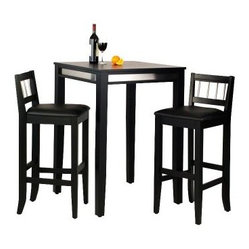 Manhattan Black Pub Table Set with Stainless Steel Apron - 3 pc. Set with 2 Stoo