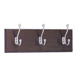 Safco - Safco 3 Hook Wood Wall Coat Rack in Mahogany (Set of 6) - Safco - Coat Racks - 4216MH - These 3 hook hardwood coat rack panels can be mounted alone or in a series as needs grow. Ball tipped hooks protect garments while keeping them firmly in place. Packed 6 per carton.