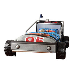 Homelegance - Homelegance Track Twin Race Car Bed in Silver - Vroom! Vroom! Your child will be one step closer to their dreams of being a race car driver in the Track Collection. This low profile twin bed will get high profile compliments for the realistic fun design. Each bed features molded tires and display shelf. The bold color scheme of each bed will easily blend with décor from your child's favorite race team or a creation of their own design. Dreaming has never been this much fun!