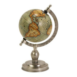 Home Decorators Collection - Columbus Globe - Perfect for adding a distinguished touch to your home office decor or as a home accent on an end table or an empty space in your bookcase, this globe offers an antique-inspired deign combined with a contemporary base for a look that you are sure to love. With its rich colors and fine details, this piece will blend easily with most any decor. Accentuate the look of your home; place your order today. Quality crafted for years of lasting beauty. Base Features a lustrous nickel finish.