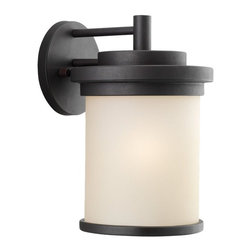 Seagull - Seagull Winnetka Outdoor Wall Mount Light Fixture in Misted Bronze - Shown in picture: 88661-814 One Light Outdoor Wall Lantern in Misted Bronze finish with Cafe Tint Glass