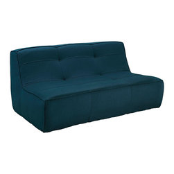Modway - Align Upholstered Loveseat EEI-1355 Azure - There are sectional sets that claim to be modern by portraying some enlightened path forward. But for every one of these efforts, is an equal and opposite reaction. The more we use our own guile to paddle forward, the more the stream of present reality seems to rush against us. Align was designed as an attempt to wash away those hindrances that obstruct growth. If there had been a choice, the designers would have kept Align just that. But while a sectional sofa set needs to be made curved, the intent was to stay true to the original concept. Align comes generously padded and upholstered in fine fabric, with slight button tufting and trim for only the gentlest effect.