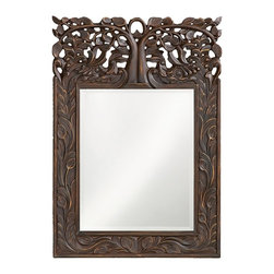 Howard Elliott - Oakvale Mirror - This rectangular mirror features a frame carved with a lovely leaf design reaching up to an ornate open work tree design. The piece is finished with an antique French brown and highlighted with gold accents.