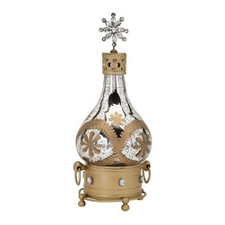 IMAX - Hallam Glass Decanter - Designer Becky Fletcher embellishes a pretty glass decanter with brass accents topped with feminine finial for a unique, eclectic look.