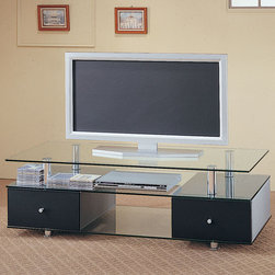 Coaster - 720081 TV Stand - Contemporary TV stand with glass bottom and base. Features two pull out storage drawers.