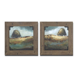 Rustic Trees Framed Wall Art Set of 2 - *These oil reproductions feature a hand applied brushstroke finish and rust and black strapping accenting the corners.