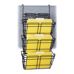 Safco - Safco Panel Mate Triple File Basket (Set of 6) - Safco - Desk Organizers - 4151CH - This wall hanger file basket set provides convenient access to files and other storage materials. Strong welded steel construction in a continuous loop design with epoxy finish. Universal mounting system included. Packed 6 per carton.