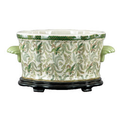 Oriental Danny - Porcelain Basin in Fern Pattern - Elegant and stately, this porcelain basin would make the perfect planter for your decor. This hand-painted piece features a delicate pattern of fern fronds.