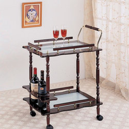 Coaster - Cherry Traditional Serving Cart - Serving cart finished in a cherry with frosted glass top.