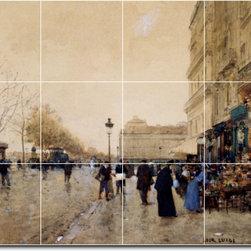 Picture-Tiles, LLC - Paris Le Louvre Tile Mural By Luigi Loir - * MURAL SIZE: 24x32 inch tile mural using (12) 8x8 ceramic tiles-satin finish.